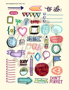 Planner stampabile Doodles Instant Download di YellowPaperHouse