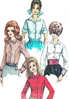 1960s Womens Blouse Pattern Simplicity 7727 Front by paneenjerez, $10.00