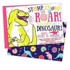 Dinosaurs and Donuts! There couldn't be a better dinosaur party theme for girls! Invite your friends to stomp, chomp, and roar & party like a dinosaur! #dinosaur #donuts #girl #dinosaur #party #theme #invitation #printable Girl Dinosaur, The Good Dinosaur, Cute Dinosaur, Dinosaur Party, Printable Invitation Templates, Valentine's Day Printables, Donut Birthday Parties, Birthday Party Themes, Dinosaur Birthday Invitations