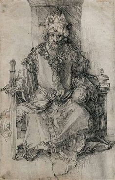 Albrecht Dürer, German, An Oriental Ruler Seated on His Throne, Pen and black ink on laid paper: x cm. National Gallery of Art, Washington D. Renaissance Kunst, Renaissance Artists, Art And Illustration, Vector Illustrations, Albrecht Dürer, Albrecht Durer Paintings, National Gallery Of Art, Mystique, Wow Art