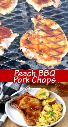 Peach BBQ Pork Chops are tender, juicy and just full of delicious flavors. A great dinner for any night of the week to make on the grill! Our homemade peach bbq sauce will take your pork chops to the next level of deliciousness. Balsamic Pork Chops, Marinated Pork Chops, Baked Pork Chops, Grilled Pork, Best Pork Chop Recipe, Easy Pork Chop Recipes, Pork Recipes, Family Recipes, Easy Recipes