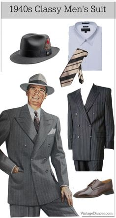 1940s classy mens suit clothing fashion costume at VintageDancer com