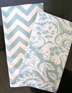 SET Of 2  Spa Blue TEA TOWELS Chevron Kitchen by SayItWithPillows