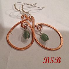 Hammered copper wire earrings Sterling silver and aventurine free shipping on Etsy, $14.49