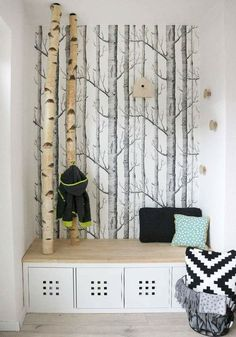 DIY & Interior: Dani from Gingered Things shows her new wardrobe with birch trunks. DIY & Interior: Dani from Gingered Things shows her new wardrobe with birch trunks. Diy Interior, Interior Design, Diy Home Decor, Room Decor, Home Decoration, Diy Casa, Creation Deco, Home And Living, Diy Furniture