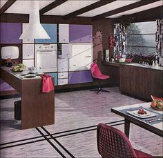 Lots of color going on here... 1956 Turquoise and Lilac kitchen...