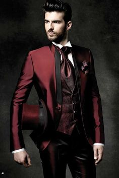 2019 Wholesale High Quality One Button Dark Red Groom Tuxedos Groomsmen Mens Wedding Suits Prom Bridegroom Jacket+Pants+Vest+Tie NO:396 From Yanmai, $149.92 | DHgate.Com