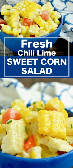 Fresh Chili Lime Sweet Corn Salad is THE ideal BBQ side dish to bring for any party this summer!  Sweet, succulent corn, fresh juicy tomatoes blended with a cold chili lime dressing.  via @westviamidwest