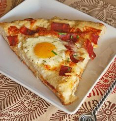 Breakfast Pizza. This would be great with the cauliflower pizza crust recipe I linked somewhere in here.