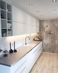Excellent modern kitchen room are offered on our website. look at this and you wont be sorry you did. Kitchen Cabinet Colors, Kitchen Decor, Kitchen Ideas, Modern Kitchen Design, Interior Design Kitchen, Elegant Kitchens, Kitchen On A Budget, Small Space Kitchen, Small Spaces