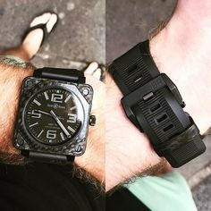 REPOST!!!  New killer combo. @bellross_usa BR 01-92 Carbon Fiber Phantom, BR-X1 buckle and rubber strap, and to top it off the killer @ecnkeeper Carbon Fiber buckle. One of these days I get some good SLR shots of this thing... #bellrosswiki  repost   credit: ID @bellrosswiki (Instagram)