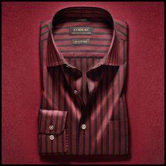 Presenting The AW 2019 Trend Report From The House Of ZODIAC. Business Casual Men, Men Casual, Man Dress Design, Gents Shirts, Red Shirt, Shirt Men, Zodiac Shirts, Men Online, Stylish Men
