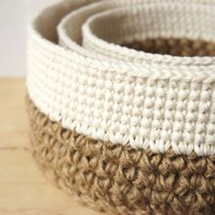crochet pattern: round jute and cotton stacking baskets, and more – JaKiGu You're going to love Round Jute and Cotton Stacking Baskets by designer Jana K Gusich.Crochet pattern for three stacking baskets worked in jute and cotton is now available t Crochet Bowl, Crochet Basket Pattern, Bead Crochet, Crochet Crafts, Crochet Projects, Free Crochet, Crochet Patterns, Crochet Baskets, Crochet Video