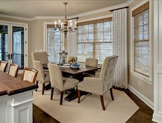 Traditional Dining Room by Design By Lisa Short curtain rods on either side of windows. Dining Room Curtains, Dining Room Windows, Bay Windows, Large Windows, Burlap Curtains, Cafe Curtains, Sunroom Dining, World Of Interiors, Short Curtain Rods