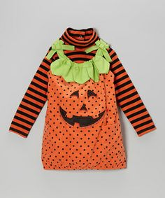 Vibrant and full of festive flair, this spooktacular set will brighten any day. The top's stripes and turtleneck collar complement the jumper's fun polka dots and happy jack-o'-lantern visage.