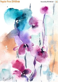BLACK FRIDAY SALE Abstract Watercolor Painting Floral by CanotStop