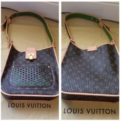 Authentic Louis Vuitton Perforated Musette Handbag Authentic Louis Vuitton limited edition green monogram perforated Musette Bag with Alcantara lining. Perfect condition with minor scuffs on the vachetta from occasional use. This is from the 2006 Spring/ Summer collection, made in Spain. No trades! Additional pictures can be provided upon request. (Note- Only the one with green Alcantara lining is available. Orange and fuchsia is just for picture purposes) Louis Vuitton Bags