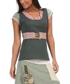Look at this Ian Mosh Khaki & Pink Lace Cap-Sleeve Top on #zulily today!