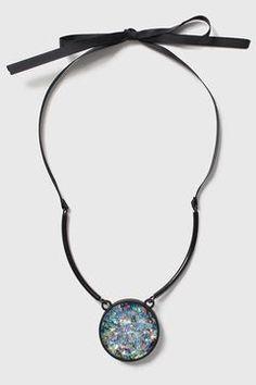 Metallic Circle Drop Necklace