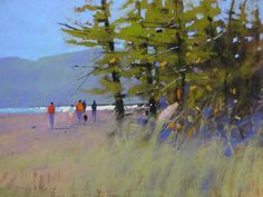 Tony Allain  'DOG WALKERS, RABBIT ISLAND, pastel on paper 18in x 24in