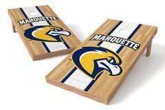 Marquette Golden Eagles Single Cornhole Board - Court