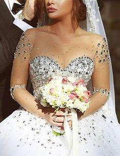 VKStar/® Robe de Mari/ée Princesse Dentelle Col V Robe Mariage Femme Longue Organza Robe Mari/ée Boule El/égante Dos Nu
