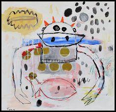 Troy Henriksen - Crab and Fish - Acrylique, fusain et mixte sur toile - 100 x 100 cm - 2014 - Galerie W - Galerie d'Art contemporain à Paris #galeriew #gallery #w #gallery w #troy-henriksen @galeriew