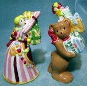 Nikko Christmas Doll Bear Salt Pepper Shakers
