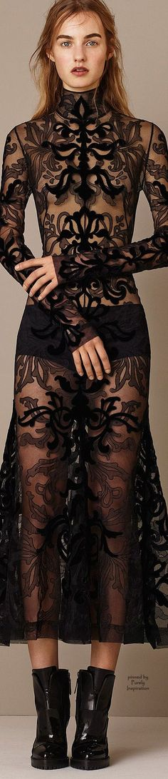 I LOVE this dress!! It looks like tattoos because of the fabric layering! Alexander McQueen PF2015