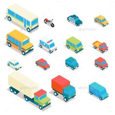 Isometric City Transport And Trucks Vector Icons