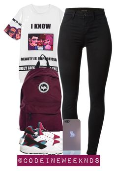 8:21:15 by codeineweeknds on Polyvore featuring polyvore, fashion, style, J Brand, NIKE and Hype