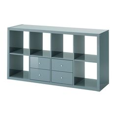 KALLAX Shelf unit with 2 inserts, high-gloss gray-turquoise high-gloss gray-turquoise 30 3/8x57 7/8