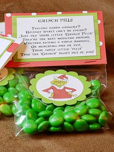 more grinch pills, but with green M   & M's {Neighbors, #12days till Christmas, classmates, teachers ~mrm}
