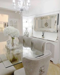 Dining Room Decor - Get the Modern Dining Room Furniture For Your Home Dining Room Table Decor, Elegant Dining Room, Luxury Dining Room, Dining Room Design, Dining Room Furniture, Furniture Ideas, Glass Dining Table, White Dining Rooms, Modern Furniture