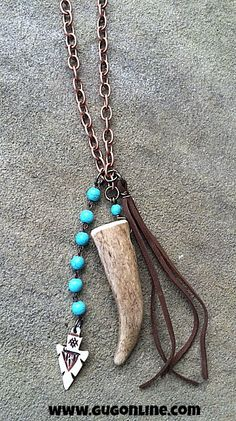 Horn and Tassel on Long Copper and Turquoise Link Chain $36.95 www.gugonline.com