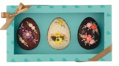 Three strikingly lovely Fortnum & Mason chocolate Easter eggs. #British #Easter #eggs #chocolate #candy #food
