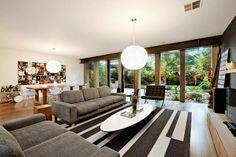 Wohnzimmer Designer Möbel Teppich-grafisch Muster-Wand