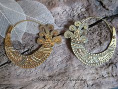 Tribal Brass Earrings, Hmong Hill Tribe Design, Gypsy Hoop Earrings, Tribal Jewellery, Ethnic Earrings by ShankaraTrading on Etsy https://www.etsy.com/listing/198428137/tribal-brass-earrings-hmong-hill-tribe