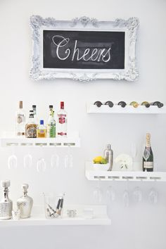You MUST see this adorable DIY Wedding Donut Bar!This is a donut bar that I could make myself. It is so sweet!Built in bar idea - I like the idea of the schnapps shelves with Decor, Home Diy, Floating Shelves, Bars For Home, Diy Bar, House, Home Decor, Room, Bar Shelves