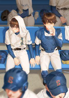 Anime Manga, Anime Guys, Diamond No Ace, Baseball Anime, Miyuki Kazuya, Kurotsuki, Fanart, Iwaoi, Anime Ships