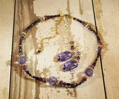 Pleasing Plum Necklace and Earrings. http://www.beadelish.com