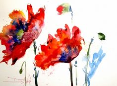 Poppy Splash floral painting, painting by artist Delilah Smith