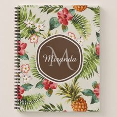 #Exotic Tropical Pineapple Floral Brown Monogram Notebook - #floral #gifts #flower #flowers