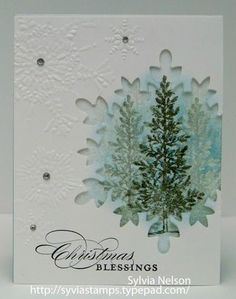 Snowflake die Lovely as a Tree stamp by olivialight Homemade Christmas Cards, Stampin Up Christmas, Christmas Cards To Make, Noel Christmas, Christmas Paper, Handmade Christmas, Homemade Cards, Holiday Cards, Christmas Blessings
