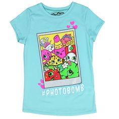 Sizes 4/5  6/7  8  10/12  14/16 Color Aqua Made From 50% Cotton 50% Polyester Label Moose Enterprises Shopkins Officially Licensed Shopkins Girls Shirt
