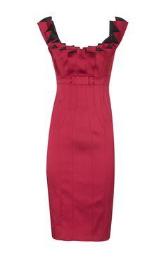 Karen Millen Folded Satin Pencil Dress Fuchsia ,fashion  Karen Millen Solid Color Dresses outlet