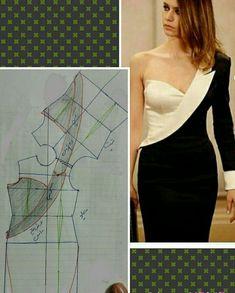 How to make off-shoulder bodice patterns Pattern Draping, Bodice Pattern, Collar Pattern, Dress Sewing Patterns, Clothing Patterns, Blouse Patterns, Blouse Designs, Fashion Sewing, Diy Fashion