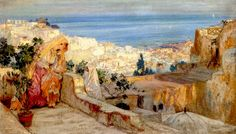 The Athenaeum - Arab Women on a Rooftop, Algiers Beyond (Frederick Arthur Bridgman - )