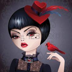 Retrato de mujer sofisticada con el pelo corto y negro. Tiene sombrero rojo con plumas de ave sosteniendo un pájaro cardenal rojo.