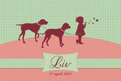 Geboortekaartje Liv - voorkant - kaartje op maat met eigen honden - Pimpelpluis - https://www.facebook.com/pages/Pimpelpluis/188675421305550?ref=hl (# meisje - lief - schattig - roze - silhouet - dieren - hond - bellen blazen - origineel)